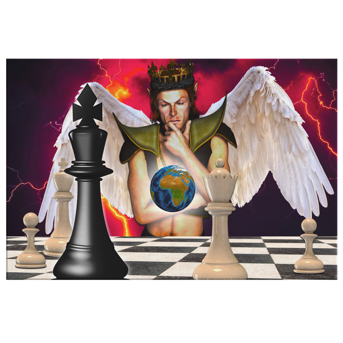 Angel earth chess - Rectangle Gallery Canvas Art