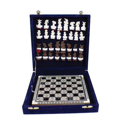 Egyptian Mother Of Pearl Chess Set with hand carved bone pieces