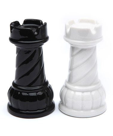 Rook Salt and Pepper Set - Black and White