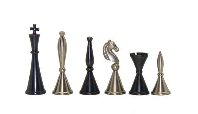 Brass Art Deco Chess Pieces on Grey Briar Chess Board