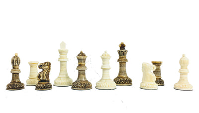 Carved Camel Bone Chess Pieces with Storage Box