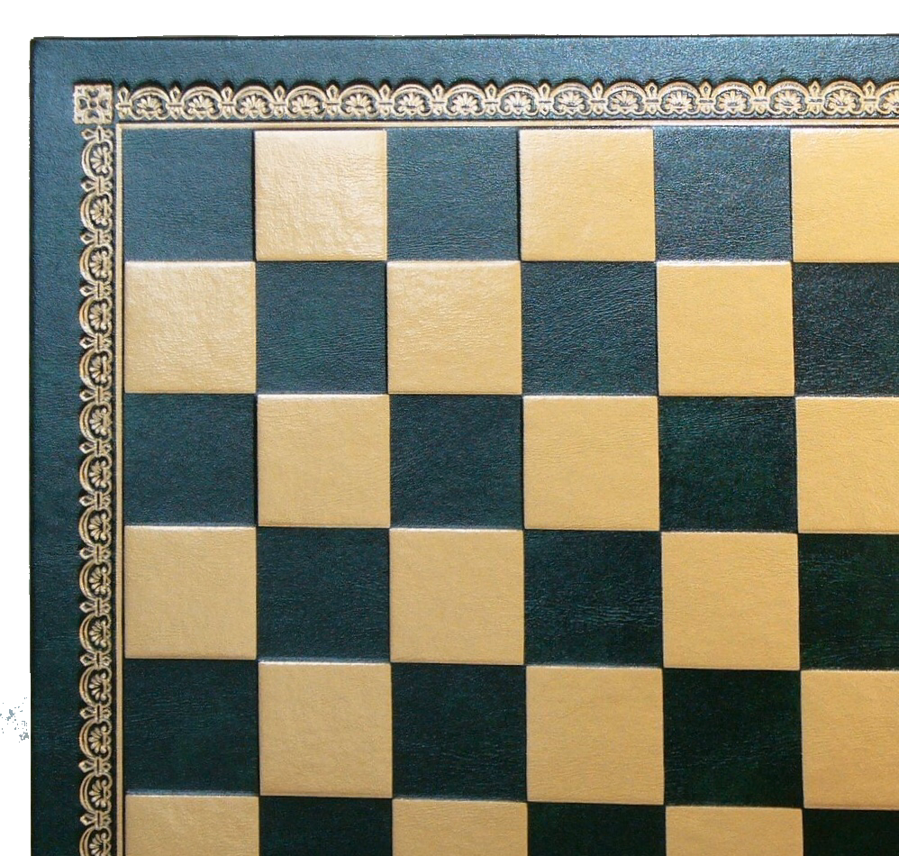 "13"" Green Gold Pressed faux leather On Wood Chess Board"