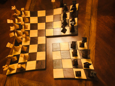 Tempisque and Salmwood Twisted Battle Chess Set