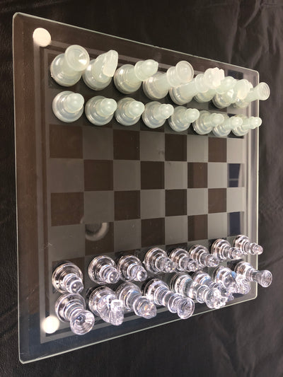 Clear and Frosted Chess Pieces with Glass Board