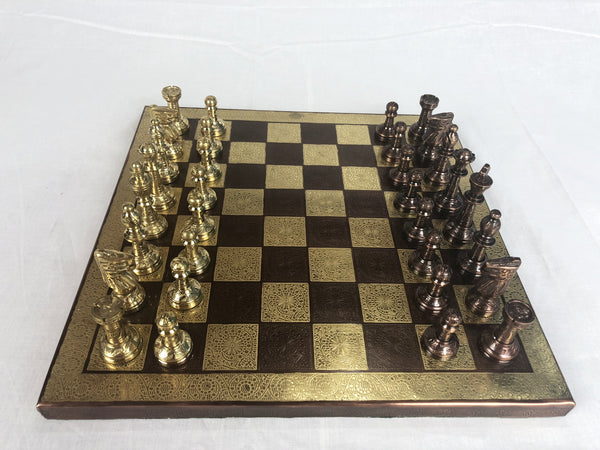 Golden and Bronze Metal Chess Set