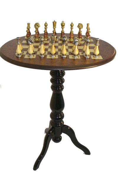 Staunton Metal and Wood Chess Pieces and  Wood Table