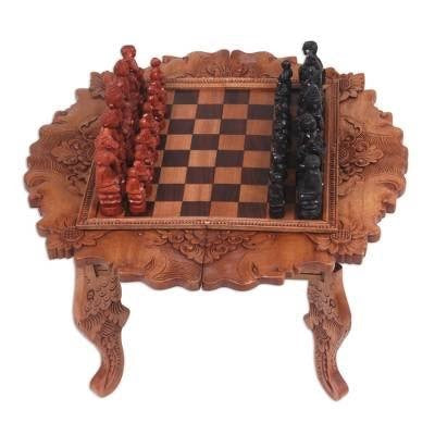 Buddha and Monks Cempaka wood Carved Chess Set