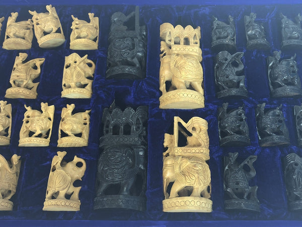 White Cedar and Ebony Wood Indian Battle Chess Pieces