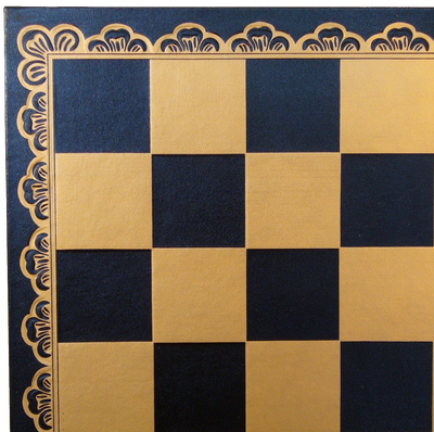 "10"" Black and Gold Pressed faux leather On Wood Chess Board"