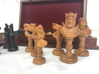 Sandal and Ebony Wood Chess Pieces with Decorative Storage