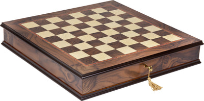 Inlaid Maple Walnut Mahogany chess board with storage - Handmade in Italy