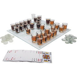 3-in-1 Shot Glass Chess, Checkers and Poker set
