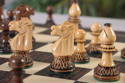 Burnt Golden Rosewood and Natural Boxwood  Chess Pieces