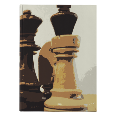 Wooden retro chess pieces hardcover journal