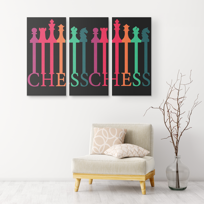 Chess connected colorful pieces - 3 piece canvas wall art