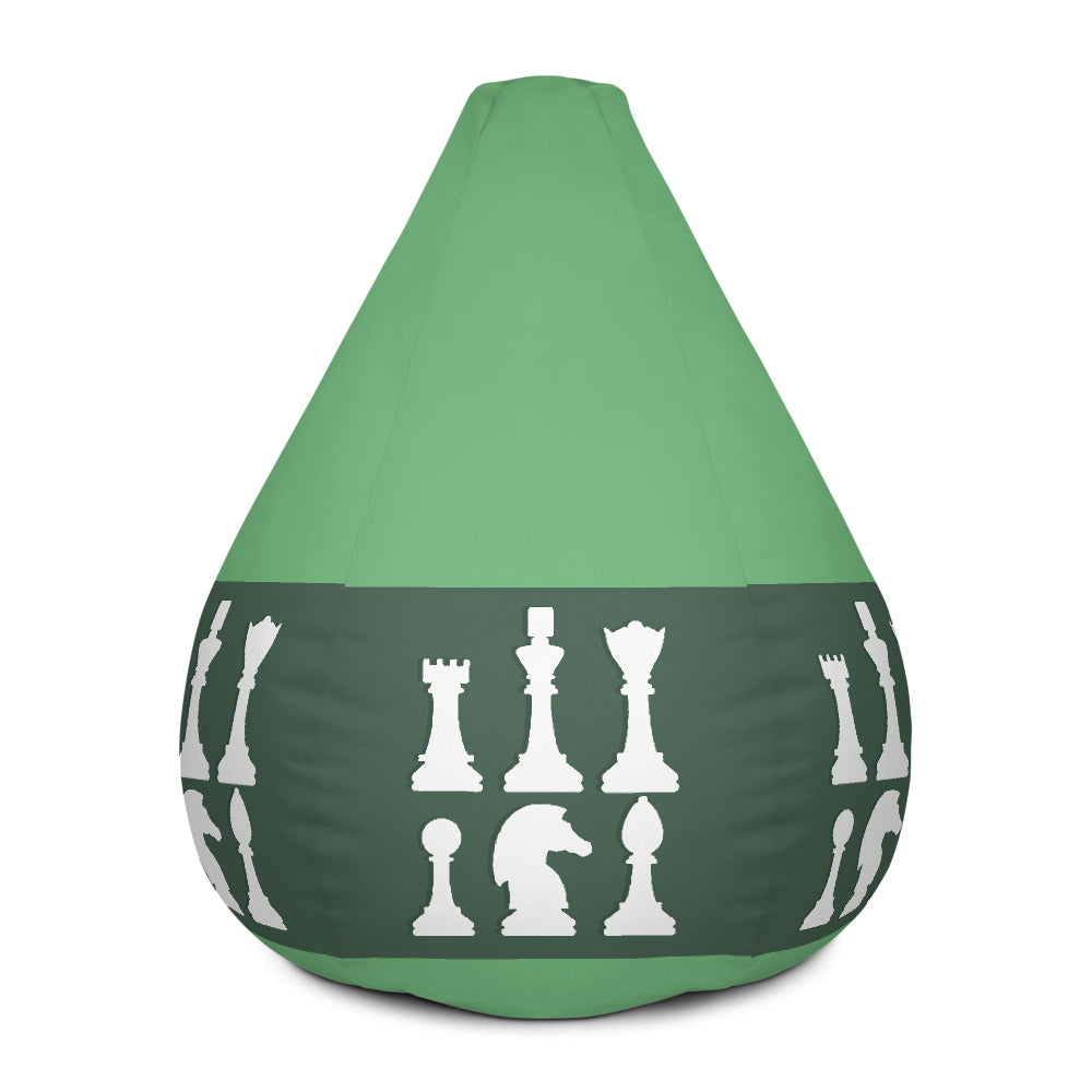 Chess pieces lineup white on green Bean Bag Chair w/ filling