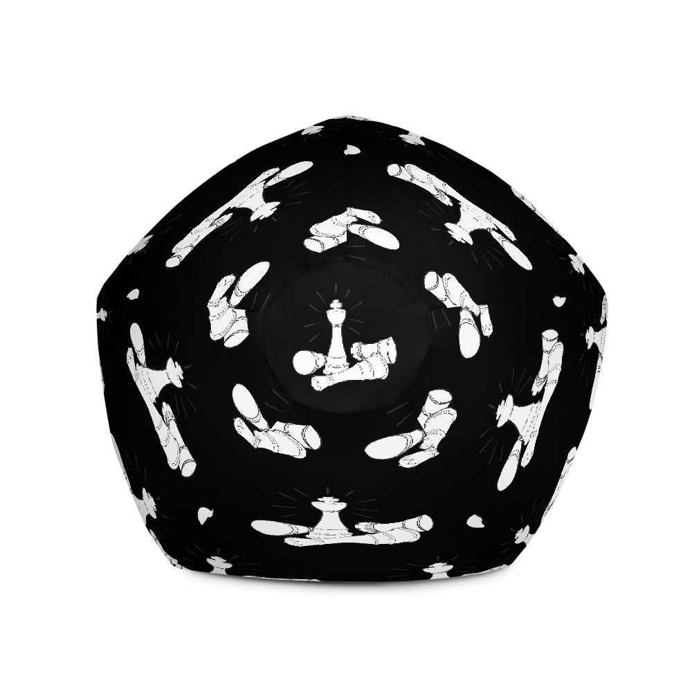 White on black chess pieces Bean Bag Chair w/ filling