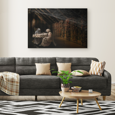 The shady chess game - Rectangle Gallery Canvas Art