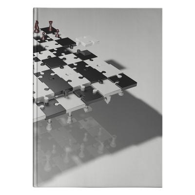 Chess puzzle board and pieces hardcover journal
