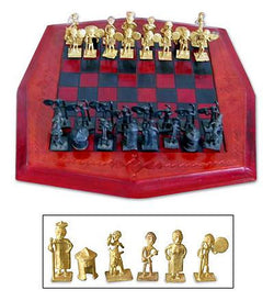 Tribal Warfare Brass and Leather Chess Set