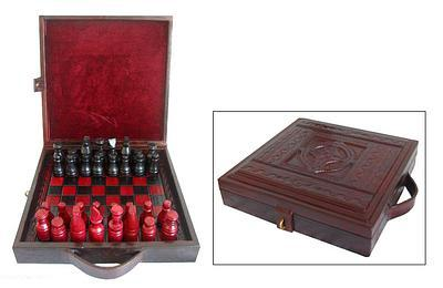 """Way to Victory"" Wood and Leather Chess Set"