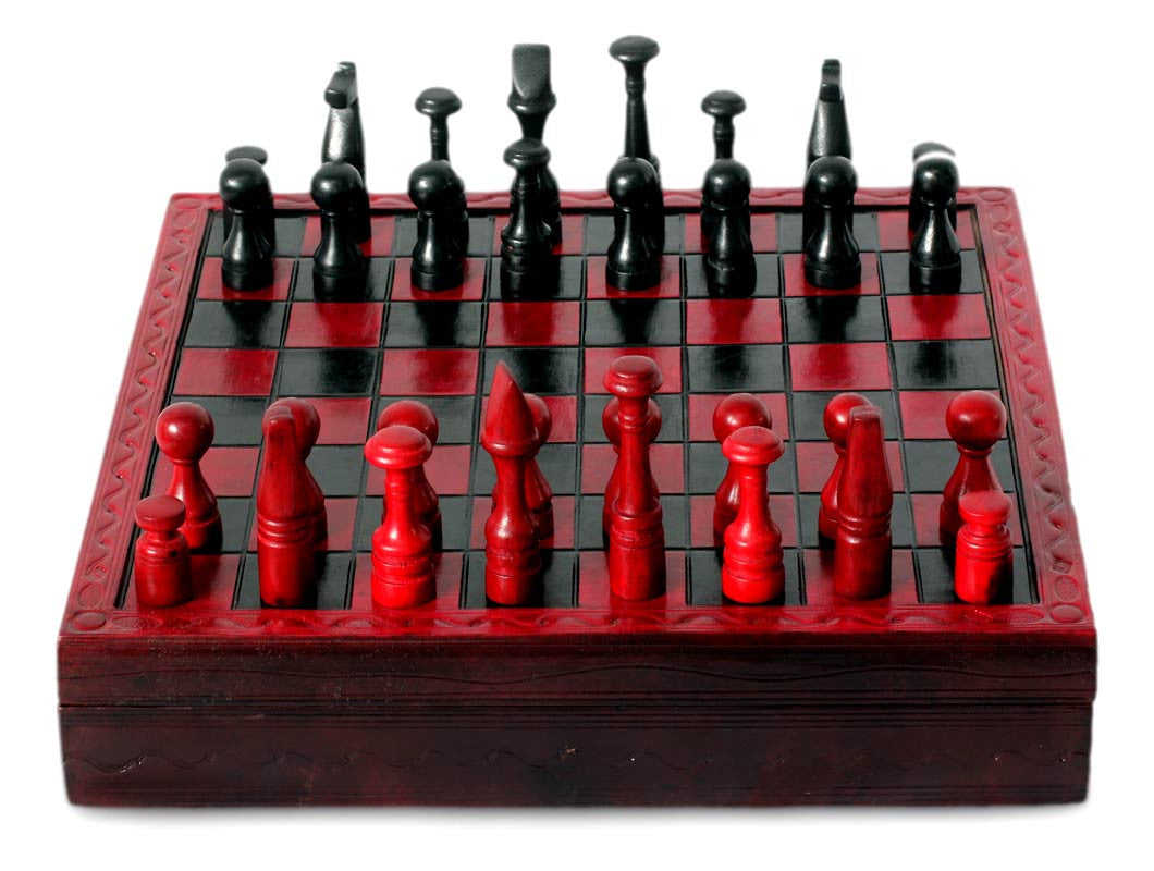 Handcrafted African Wood And Leather Chess Set Chess Boutique