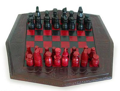 African Battle Wood and Leather Chess Set