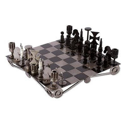 Unique Recycled Auto Part Chess Set, 'Recycling Challenge'