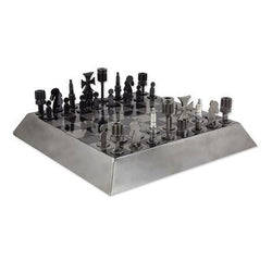 Artisan Crafted Recycled Metal Chess Set Game, 'Rustic Pyramid'