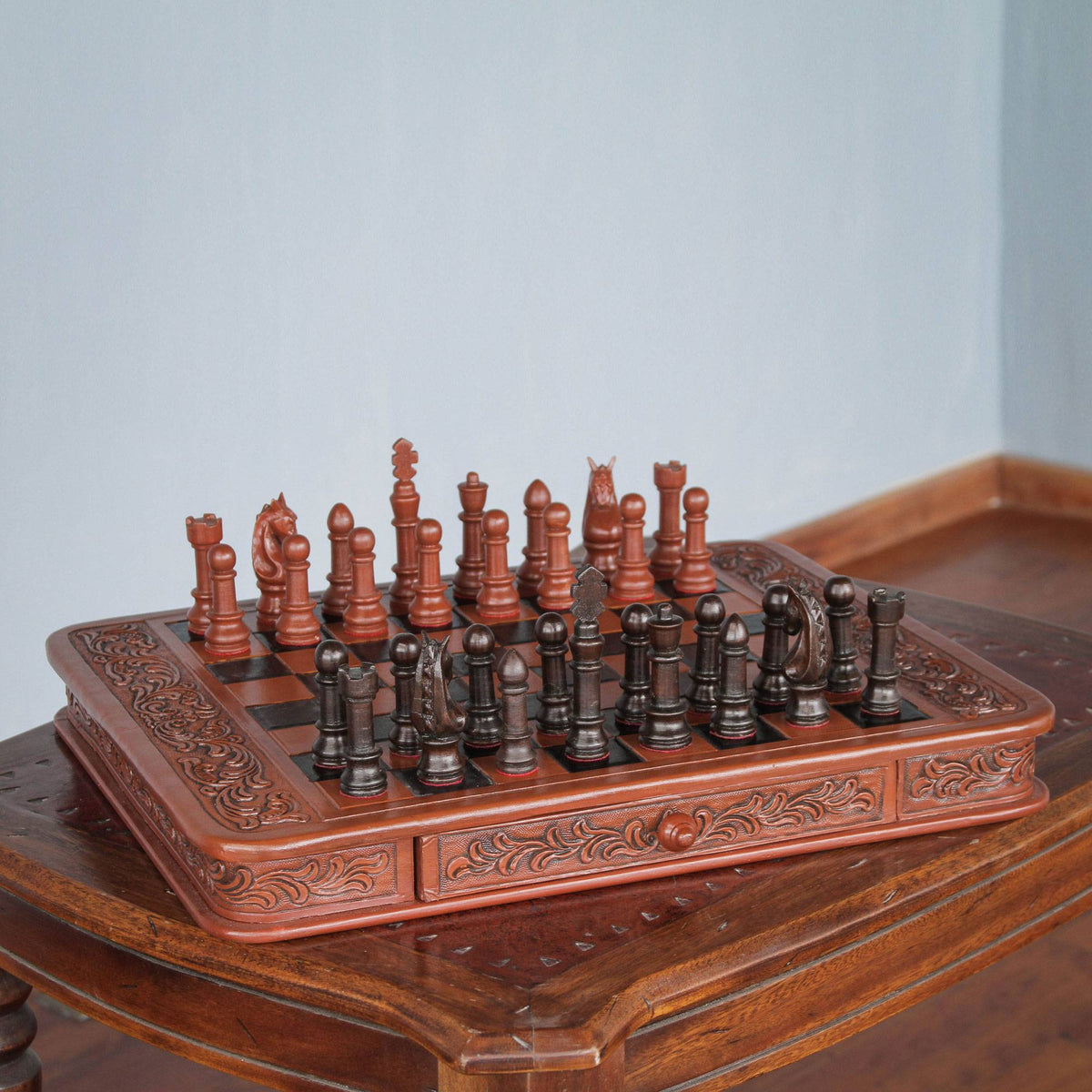 Handcrafted Peruvian Wood Leather Chess Set
