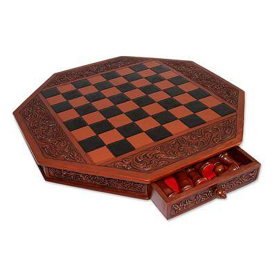 Tooled Leather and Mohena Wood Colonial Octagon Chess Set