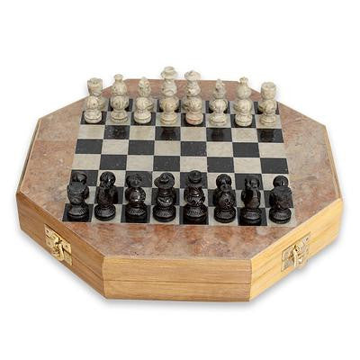 Soapstone 10 inch Handcrafted Chess Set with Storage Drawer