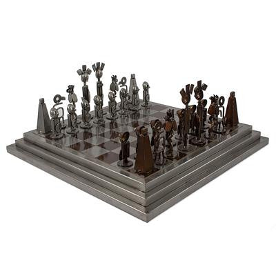 Rustic Chess Set Made Using Recycled Car Parts, 'Pre-Hispanic Battle in Brown'