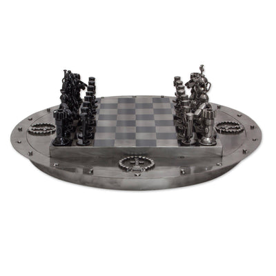 Medieval Challenge Recycled Auto Part Rustic Chess Set