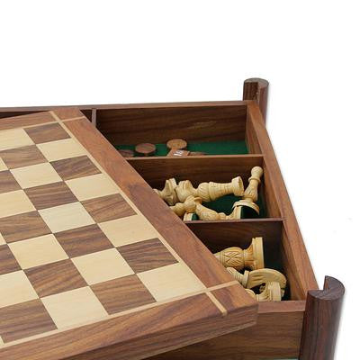 Versatile Combination Wood Chess and Backgammon Set, 'The Fun Begins'