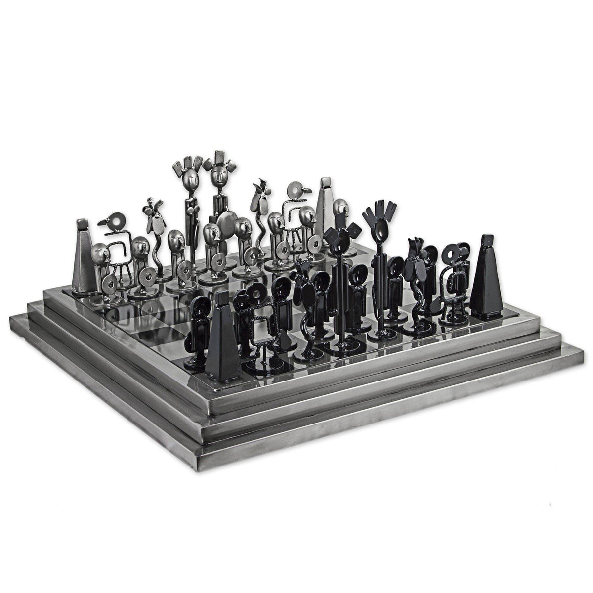 Recycled Auto Parts Pre-Hispanic Battle Rustic Chess Set - Black