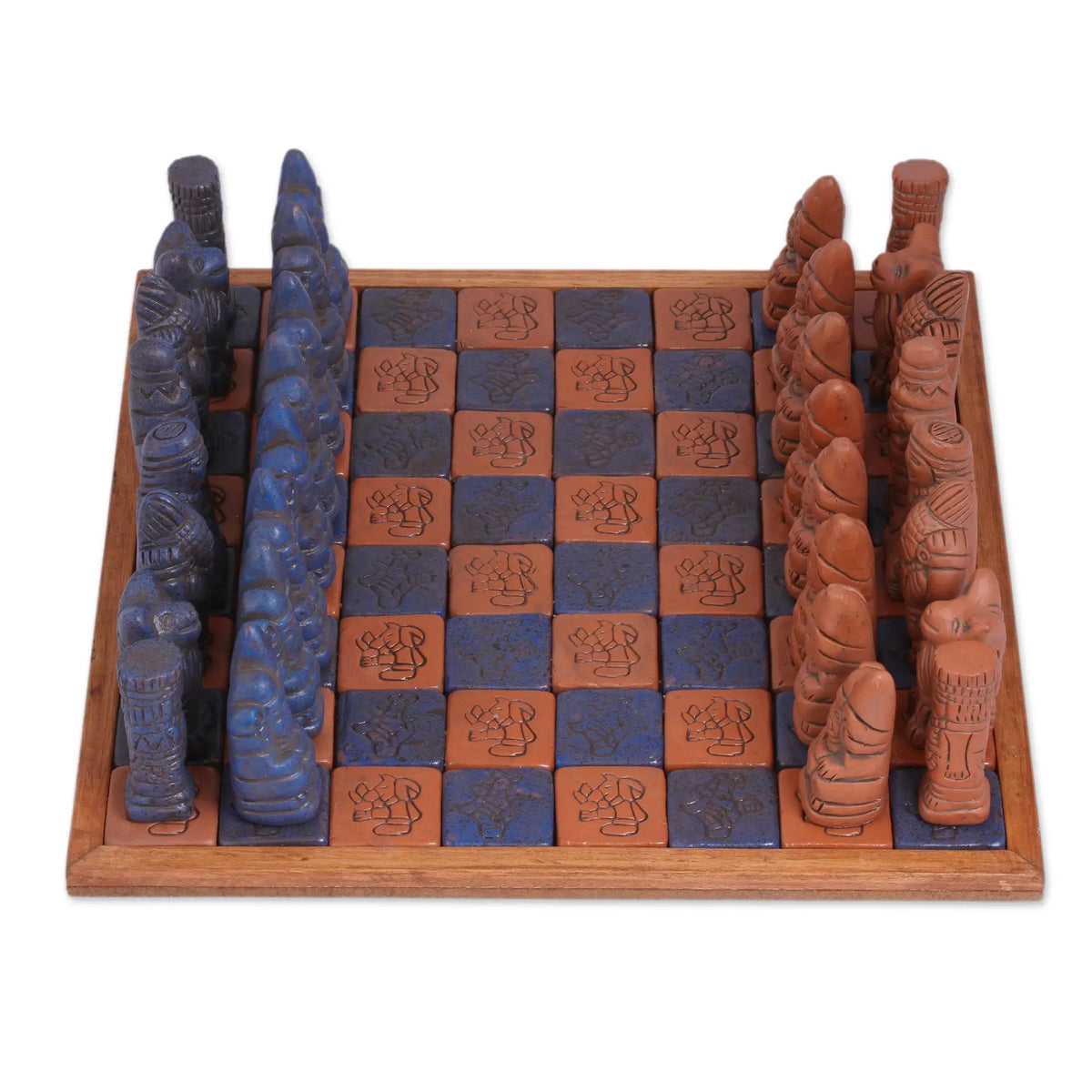 Ceramic and Wood Chess Set in Black and Brown - Hand made in Mexico