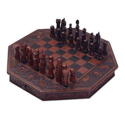 Tooled Leather and Mohena Wood Embossed Chess Set