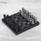 Handcrafted Mini Marble Chess Set in Black and Grey