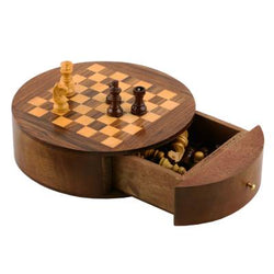 "6"" Round Wood Chess Set with Storage"