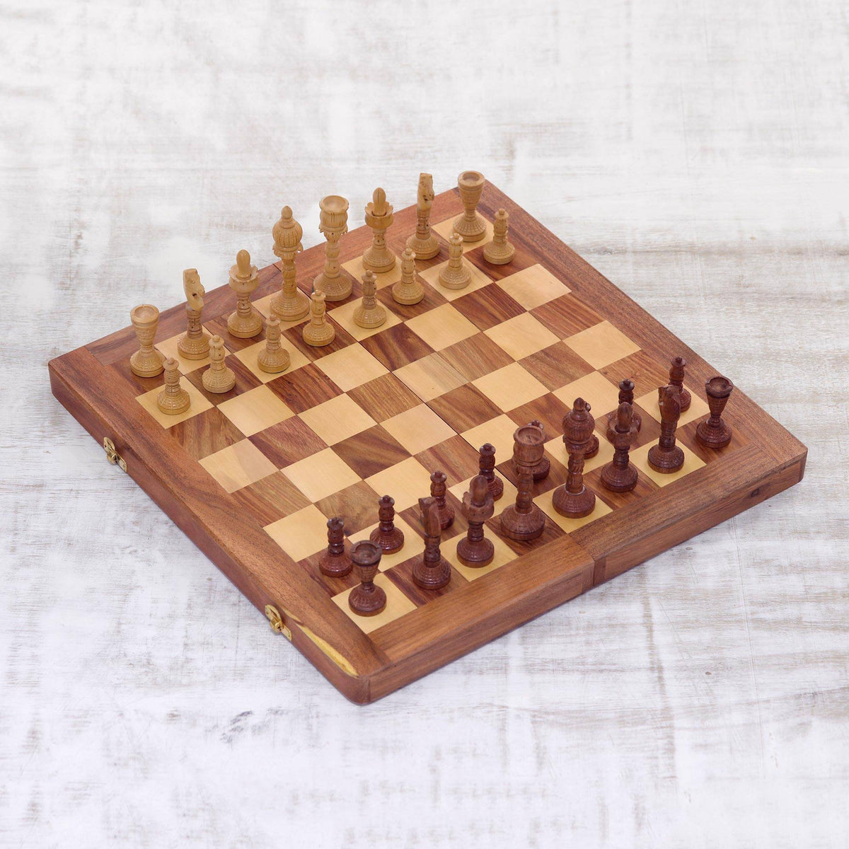 Handmade Wood Travel Chess Set for the Game of Kings