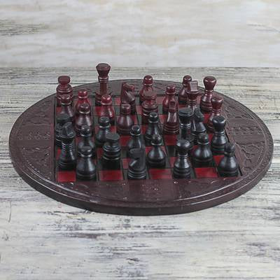 "Leather Chess Set in Burgundy and Black from Ghana, ""Burgundy Battle"""