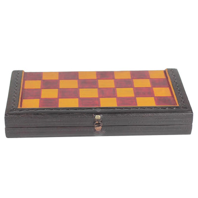 Red and Yellow Leather Travel Chess Set - Hand made in Ghana