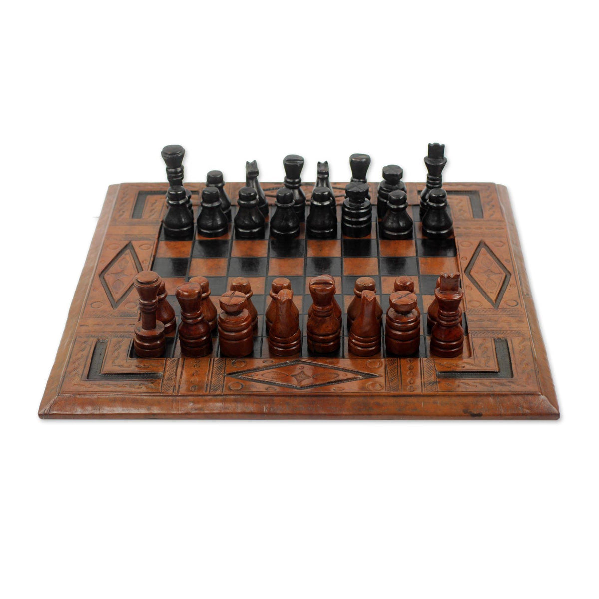 Ananse Hardwood and Leather Chess Set