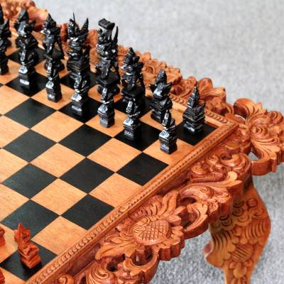 Wood Sculpted Story of Rama - Chess Set