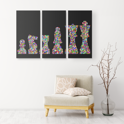 Chess prismatic chromatic warriors  - colorful 3 piece canvas wall art