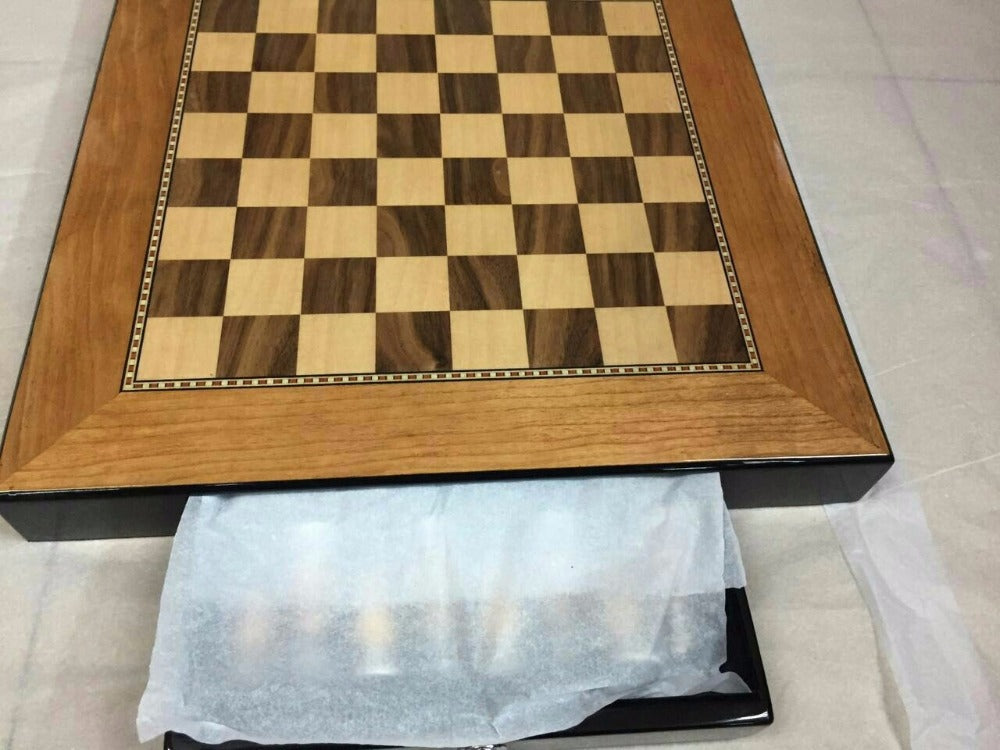 Exquisite Metal and wood Chess Set with builtin storage