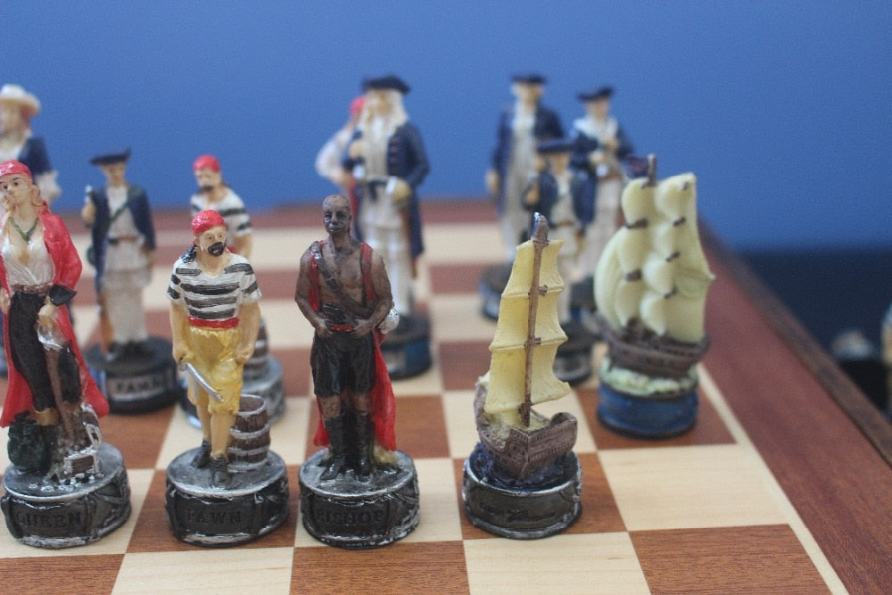 The Pirate Series Wooden and Resin Chess Set
