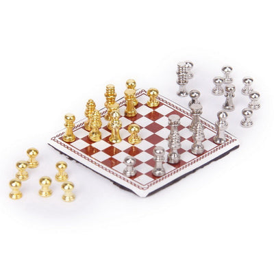 Dollhouse Miniature American Metal Chess Set Silver And Gold
