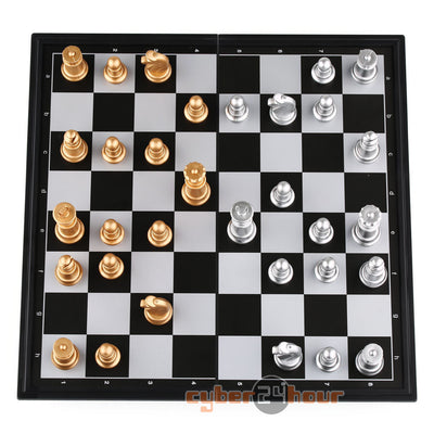 Magnetic chess, Silver & gold pieces chess, Folding magnetic board, foldable board